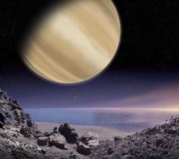 Planeta BD+14 4559 b - wizualizacja widoku z jej hipotetycznego księżyca