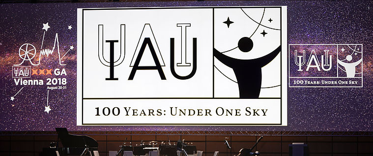 Presentation of the IAU100 logo at the General Assembly of the IAU in VIenna.