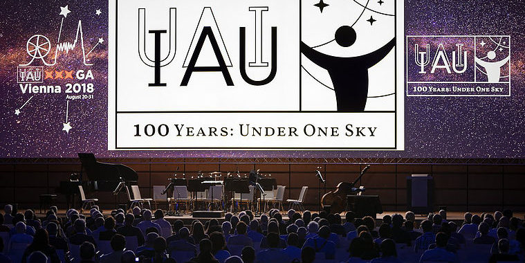 The IAU has officially launched the celebration of its centennial — the IAU100 — with a special session at the IAU General Assembly in Vienna, Austria. The session marked the beginning of a worldwide celebration of the past century of astronomical discoveries with the central theme Under One Sky. Credit: IAU/M. Zamani